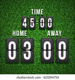 Football soccer scoreboard on grass background. Sport template. Vector illustration