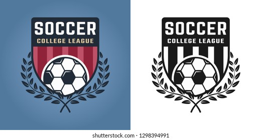 Football or soccer set of two styles emblems, badges, labels or logos for sport team vector illustration