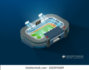football soccer stadium isometric night vector illustration