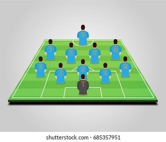 Football (soccer) starting line-up with player models
