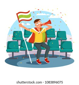 Football or soccer supporter. Fan at seats with flag celebrating winning of team or goal. Excited cheerful spectator.