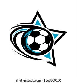 Football Soccer Swoosh Star Logo