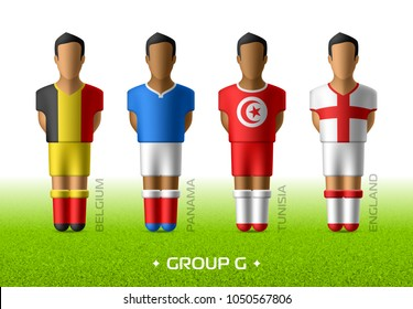 Football / soccer team players in the uniform of national flags for football championship in Russia 2018. Group G with footballers of Belgium, Panama, Tunisia and England, vector illustration