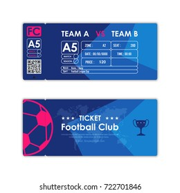 Football, Soccer ticket card element multicolor modern flat graphic design. Vector illustration.
