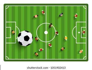 Football - Soccer Top View Field with Players and Ball