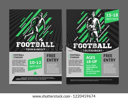 Football Soccer Tournament Posters Flyer Football Stock Vector