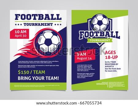 Football Soccer Tournament Posters Flyer Football Stock Vector