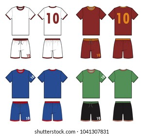 Football soccer uniform vector illustration flat sketches template