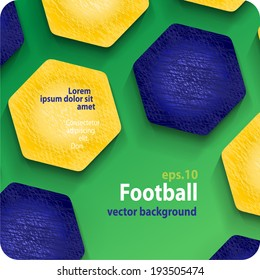 football (soccer) vector background in the colors of the Brazilian flag, cover. Eps10.