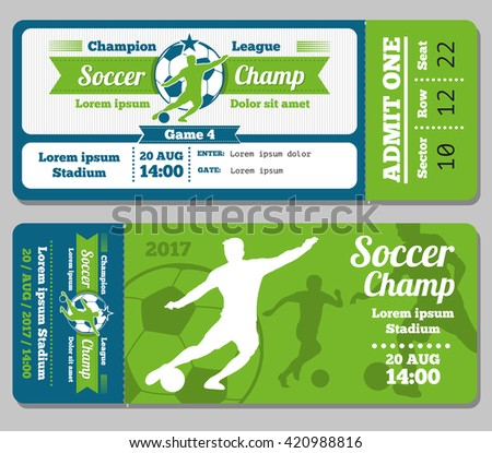 football soccer vector ticket template footbal stock vector royalty