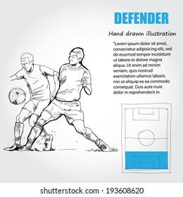FOOTBALL - Soccer whit position on soccer, The Defenders. vector illustrations