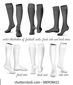 Football socks: front, side and back views. Fully editable handmade mesh. Vector illustration.