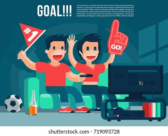 Football Sport fans watching TV broadcasting, guy & girl yell, drink beer cool vector banner or poster illustration