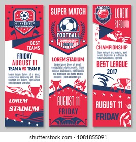 Football sport game championship match banner set with soccer ball, trophy and stadium. Sporting arena invitation flyer for soccer or football competition event with ball, winner cup, star and wreath