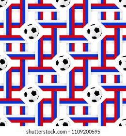 Football sport poster design. Seamless pattern with tricolor flag and soccer balls. Ribbon colors red, blue, white. Vector background design trend