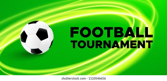 Football sport poster design. Vector background with green color field, black and white soccer ball and round light effects. 2018 banner template trend