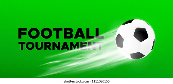 Football sport poster design. Vector background with green color field with flying black and white soccer ball. 2018 banner template trend