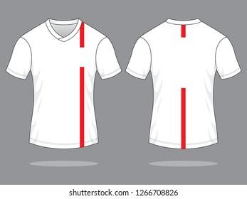 Football Sport Shirt Design Vector  (White/Red)