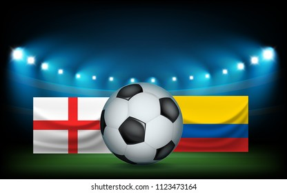 Football stadium with the ball and flags. England vs Columbia