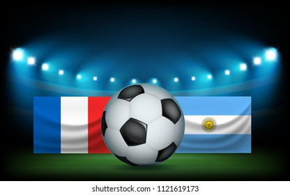 Football stadium with the ball and flags. France vs Argentina