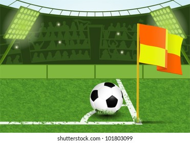Football Stadium with Ball, Marking, Corner Flag and Fans, vector illustration