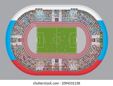 Football stadium top view. Soccer field. (view from above) Fans in the stands watching the match.