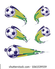 Football symbols set. fast moving soccer ball. logo for sports design. Vector illustration.