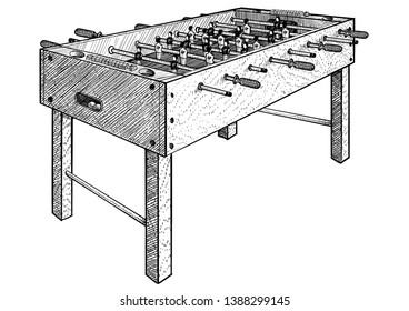 Football table illustration, drawing, engraving, ink, line art, vector