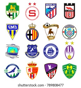 Football team logo. Set. Fictitious football league. 16 different emblems.