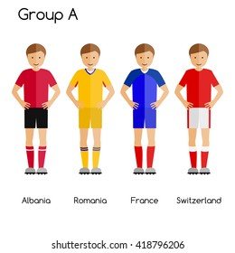 Football team players. Group A - Albania, Romania, France and Switzerland. National football team vector uniforms.