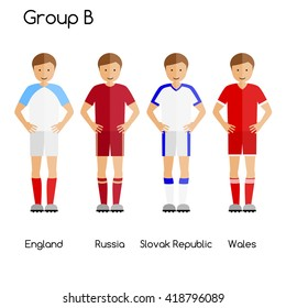 Football team players. Group B - England, Russia, Slovak Republic and Wales. National football team vector uniforms.