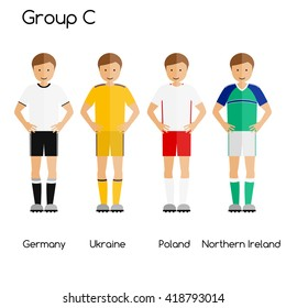 Football team players. Group C - Germany, Ukraine, Poland and Northern Ireland. National football team vector uniforms.