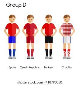 Football team players. Group D - Spain, Czech Republic, Turkey and Croatia. National football team vector uniforms.