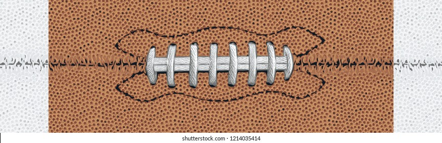 Football Texture with White Stripes and White Laces