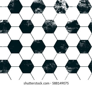 Football textured wallpaper with black hexagon. Abstract seamless sport pattern, Repeated backdrop.