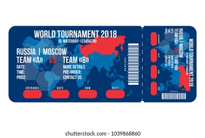 Football ticket for entrance to the stadium. Football ticket design for world cup 2018 in Russia. Vector