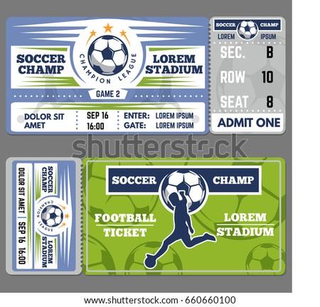 Football Ticket Template Design Coupon Soccer Stock Vector Royalty