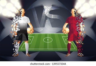 Football, Tottenham vs Liverpool soccer players holding vintage footballs, representing two opposing teams, standing isolated with a flat background behind them and a versus sign, vector illustration