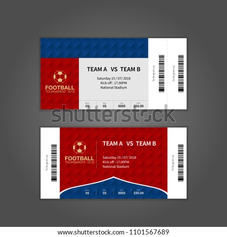Football Tournament 2018 Ticket Design Template Stock Vector