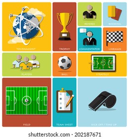 Football Tournament And Sport Flat Icon Design Design Template