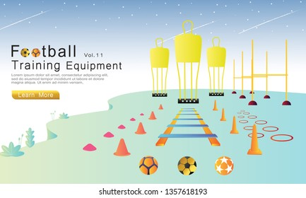 Football training equipment set flat cartoon vector illustration concept. soccer wall, ball, circle, cone, hurdles, agility ladder, mini cone, soccer barrier. used for landing page, web, banners.