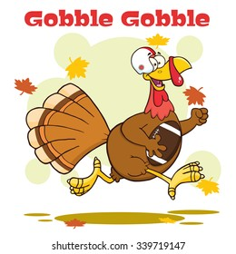 Football Turkey Bird Cartoon Character Running In Thanksgiving Super Bowl. Vector Illustration With Background And Text