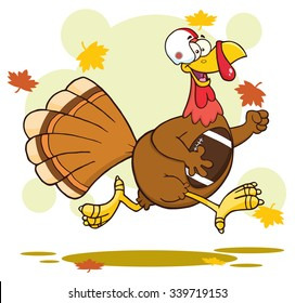 Football Turkey Bird Cartoon Character Running In Thanksgiving Super Bowl. Vector Illustration With Background