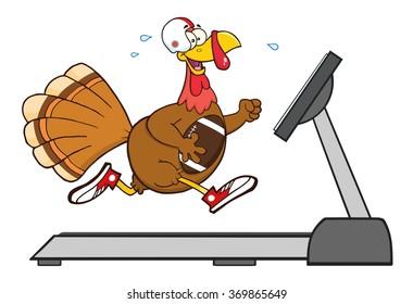 Football Turkey Bird Cartoon Character Running On A Treadmill. Vector Illustration Isolated On White