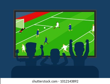 football tv translation.men watching soccer