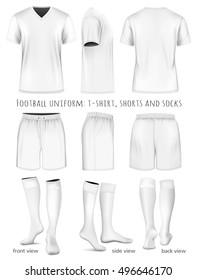 Football uniform: t-shirt, shorts and socks. Fully editable handmade mesh. Vector illustration.
