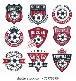 Football vector collection of nine colored emblems, stickers, badges or labels isolated on white background
