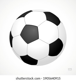Football Vector Icon. Black and White Soccer Ball. Half-Turn View