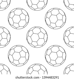 Football vector icon, emblem soccerball. Vector illustration isolated in white background. Line style. Seamless football pattern