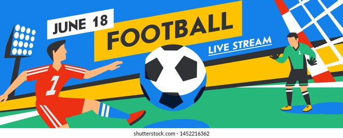Football web banner. Forward and goalkeeper in the stadium in the background of stadium. Live stream game. Penalty. Full color vector illustration in flat style.